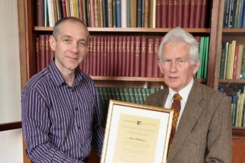 Roger Weatherup receiving Honorary Membership